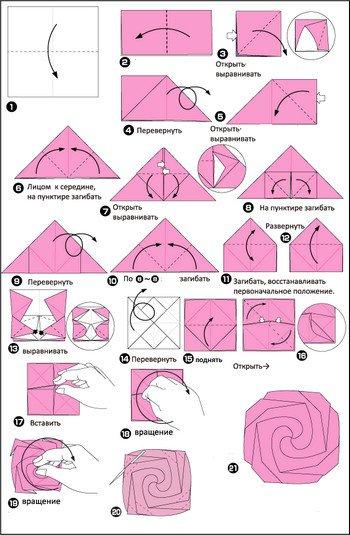 схема оригами роза