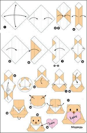 оригами медведь схема