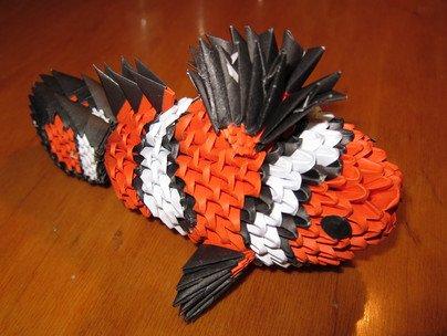 Модульное оригами рыбка клоун